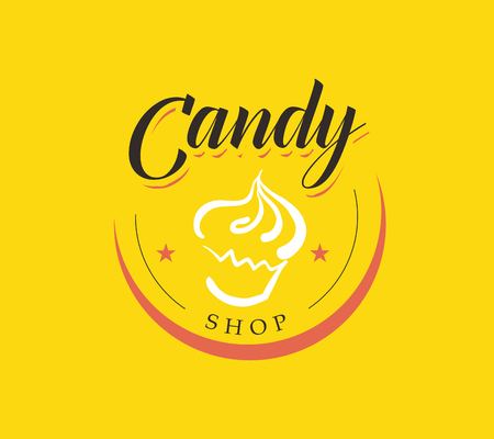 駄菓子屋の甘い店フラット ロゴのコレクションのベクトル。ブランド マーク デザイン棒キャンディします。テンプレートを印刷する子供たちのた