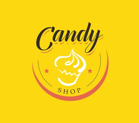 Vector flat logo collectie voor snoepwinkel en zoete winkel. Candybar brandmerk design. Ook goed voor kinderen afdruksjabloon. Stock Illustratie