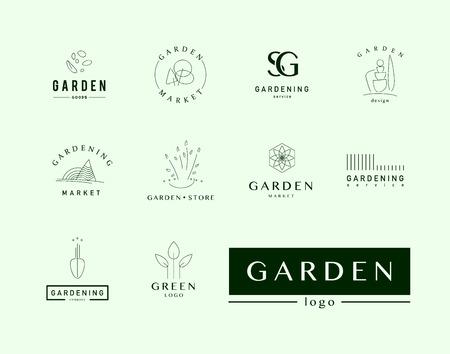Colección de plantilla de logotipo elegante plana vector para empresas de jardinería. Servicio de jardinería marca de la marca muestra gráfica. Logos