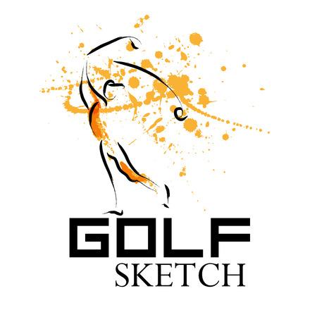 Vector Hand Golf Sportler gezogen. Sportler sketche. Tintenzeichnung. Geeignet für Werbung, Print-Design, Magazin Illustration. Standard-Bild - 51153846