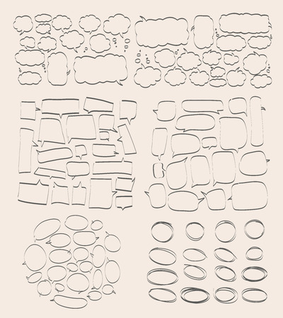 Vector set of hand drawn doodle elements. Text bubbles and balloons, frames and arrows isolated on light backdrop. Colorful paint drops. Elements for comic art design.. Illustration