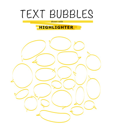 soft tip pen: Vector set of hand drawn doodle elements. Text bubbles and balloons, frames and arrows isolated on light backdrop. Colorful paint drops. Elements for comic art design.. Illustration