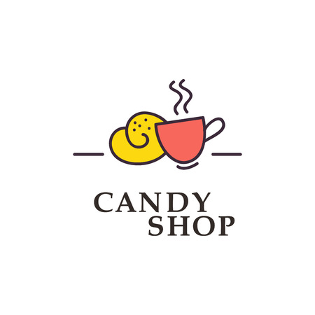 candy store: Vector flat logo collection for candy shop and sweet store. Candy bar brandmark design. Also good for children print template. Illustration