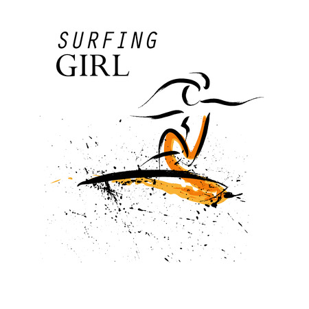 surf silhouettes: Vector hand drawn surfing girl athlete. Sportsman sketches. Ink drawing. Good for advertising, print design, magazine illustration.