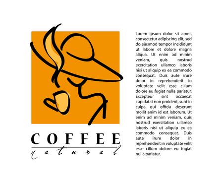 chicchi di caffè: Vettore caff� piatta logo del campione. Bello modello di marca di caff�. Buon per il caff� e negozio di t�, un negozio, anche bar e ristorante. Vettoriali