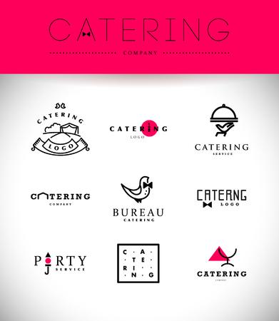 negocios comida: Modelo del vector de logotipo de la empresa de catering. Logotipo de la colección de diseño. Catering, eventos al aire libre y servicio de restaurante insignia, iconos de alimentos.