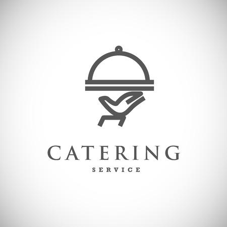 케이터링 회사 로고 벡터 템플릿입니다. 로고 디자인 컬렉션. 캐터링, 야외 이벤트, 레스토랑 서비스 휘장, 음식 아이콘.