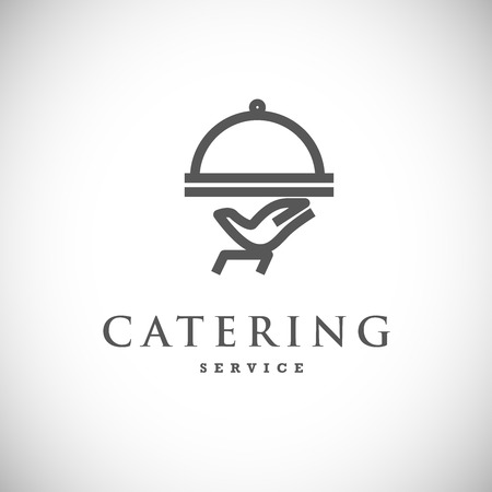 Vector template of catering company logo. Logo design collection. Catering, outdoor events and restaurant service insignia, food icons. Vettoriali