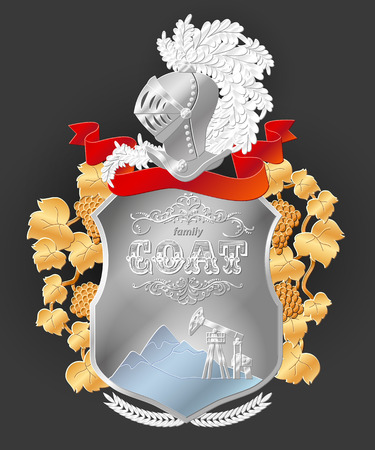 ベクトル紋章の王室紋章紋章付き外衣。紋章のテンプレートです。家族のシンボルです。結婚式の贈り物や記念日のプレゼントに最適です。  イラスト・ベクター素材