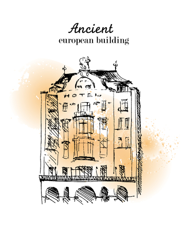 building sketch: Vector hand drawn city sketch. Prague architecture. Ink drawing. Ancient european building. Good for poster, placard, advertising, any graphic design, book illustration. Illustration