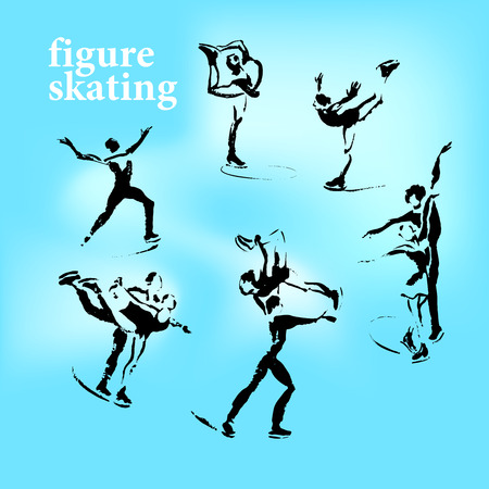 pirouette: Vector hand drawn figure skating sketch set isolated on white backdrop. Ink drawing. Sportsman silhouette illustration. Good for sport logo, magazines, journal articles, print design, poster and placards, any advertising.