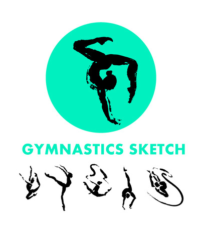 Vector hand drawn gymnastics sketch set isolated on white backdrop. Ink drawing. Sportsman silhouette illustration. Good for sport logo, magazines, journal articles, print design, poster and placards, any advertising.