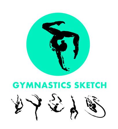 gymnastik: Vector Hand gezeichnet Gymnastik Skizze Set auf weißem Hintergrund isoliert. Tintenzeichnung. Sportler Silhouette Illustration. Gut für Sport-Logo, Zeitschriften, Zeitschriftenartikel, Print-Design, Poster und Plakate, jede Werbung. Lizenzfreie Bilder
