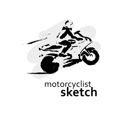 chrome man: Vector hand drawn motorcyclist sketch set isolated on white backdrop. Ink drawing. Sportsman silhouette illustration. Good for sport logo, magazines, journal articles, print design, poster and placards, any advertising.