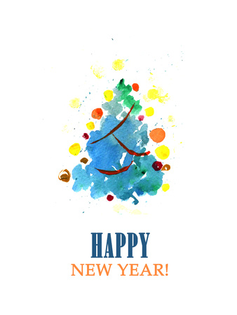 regards: Watercolor hand drawn Christmas postcard template. Hand drawn New Year card design. Xmas decorative elements isolated on white background. Congratulations and best regards. Stock Photo