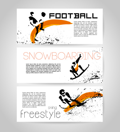 free riding: Vector sport advertising template with hand drawn athletes silhouettes. Ink drawing. Sport icons. Leaflet, poster, placard, card design sample. Good for logo and print. Stock Photo