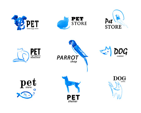 Set of watercolor animal logo ixolated on white background. Hand drawn blue colored logo design for pet industry. Cute animal illustrations. Stock Photo