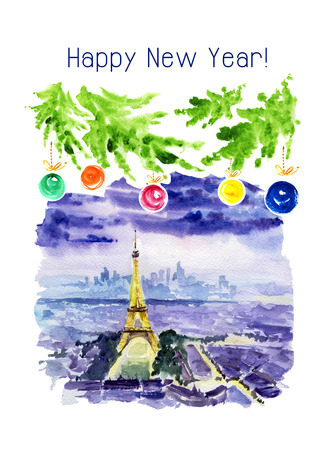 Watercolor illustration of night Paris panoramic city view with Eiffel tower decorated  fir branches and New Year congratulations. Memory Christmas postcard template.