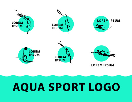 brand activity: Vector hand drawn aqua sport sketch logo. Ink drawing. Sportsman silhouette illustration. Good for sport logo, magazines, journal articles, print design, poster and placards, any advertising.
