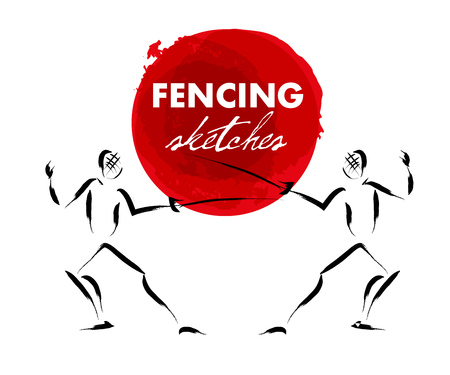 Vector hand drawn fencer sketch set isolated on white backdrop. Ink drawing. Sportsman silhouette illustration. Good for sport logo, magazines, journal articles, print design, poster and placards, any advertising.