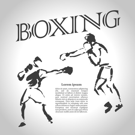 articles: Vector hand drawn boxer sketch isolated on white backdrop. Ink drawing. Sportsman silhouette illustration. Good for sport logo, magazines, journal articles, print design, poster and placards, any advertising.