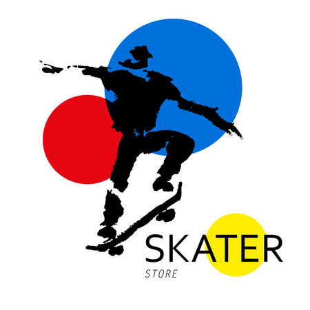 stunt: Vector hand drawn skateboarder sketch logo isolated on white backdrop. Ink drawing. Sportsman silhouette illustration. Good for sport logo, magazines, journal articles, print design, poster and placards, any advertising.