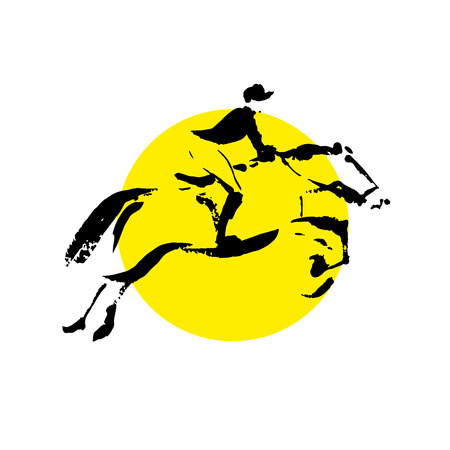 allure: Vector hand drawn horse riding sketch set isolated on white backdrop. Ink drawing. Sportsman silhouette illustration. Good for sport logo, magazines, journal articles, print design, poster and placards, any advertising.
