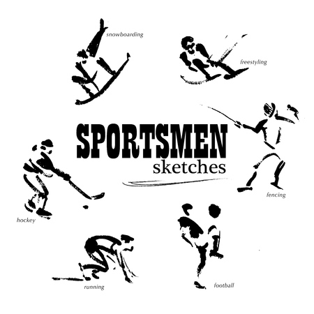 free riding: Vector hand drawn sportsmen sketch set isolated on white backdrop. Ink drawing. Sportsman silhouette illustration. Good for sport logo, magazines, journal articles, print design, poster and placards, any advertising. Stock Photo