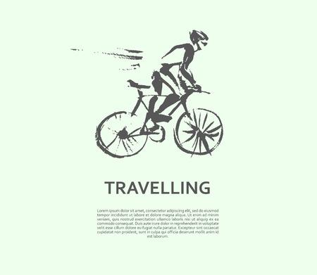 벡터 손으로 그려진 된 자전거 스케치 흰색 배경에 고립. 잉크 드로잉입니다. 스포츠맨 실루엣 그림입니다. 스포츠 로고, 잡지, 저널 기사, 인쇄물 디자
