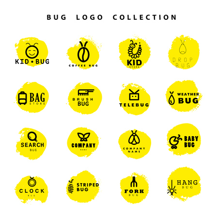 department store: Vector flat bug logo collection. Simple beetle icon. Good for children toys and clothes store or brand insignia, restaurant, clock shop, coffee shop, biology department or lab.