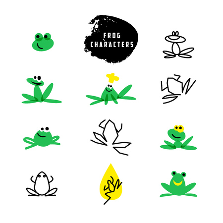 solarium: Vector simple flat logo with frog character. Cute friendly frog illustration. Logo and insignia template good for animal, pet store, children toys shops, zoo markets, eco companies and business.