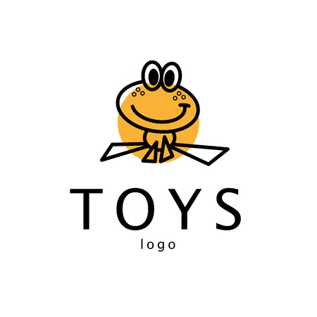 frog: Vector simple flat logo with frog character. Cute friendly frog illustration. Logo and insignia template good for animal, pet store, children toys shops, zoo markets, eco companies and business.