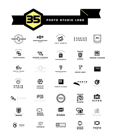 simple: Vector set of flat modern photo logo. Digital photo logothype collection. Simple and minimalistic photo icons. Good for photo studio, shop and store insignia.