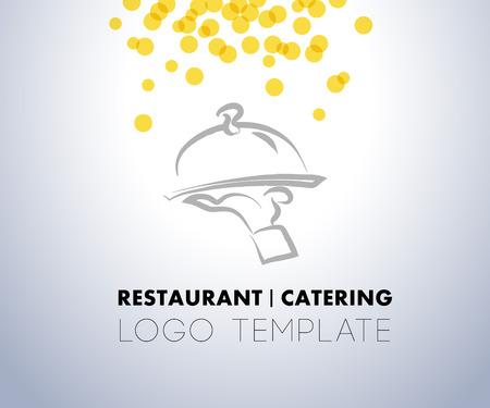 ケータリング会社のロゴのベクトル テンプレート。レストラン、ケータリング、屋外イベント、レストラン サービスの記章、食品アイコンを実行し  イラスト・ベクター素材