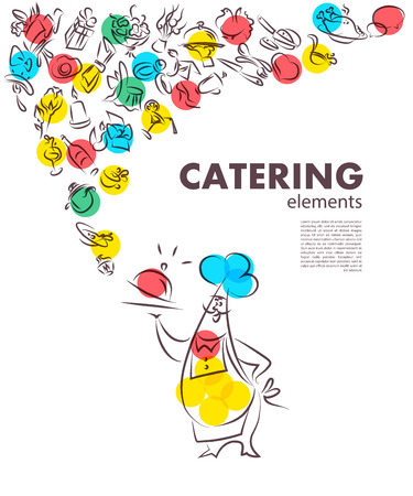 catering service: Vector template of catering company logo. Restaurant food elements collection. Catering, outdoor events and restaurant service insignia, food icons. Hand drawn elements.