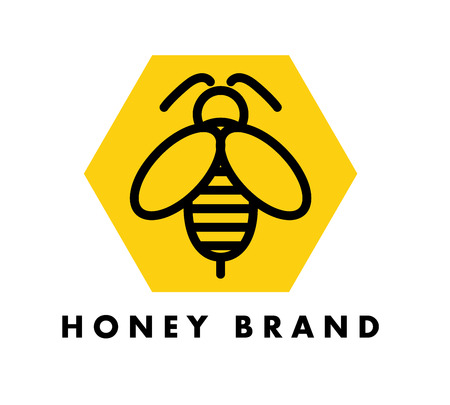 Vector flat bug logo design. Simple bee icon. Good for honey brand or market insignia.