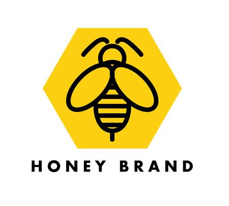 벡터 플랫 버그 로고 디자인입니다. 간단한 꿀벌 아이콘입니다. 꿀 브랜드 또는 시장 휘장에 좋습니다.