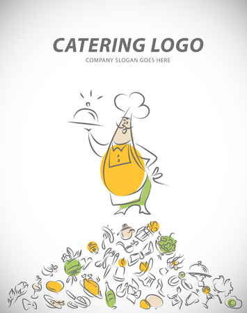 Vector template of catering company logo. Restaurant food elements collection. Catering, outdoor events and restaurant service insignia, food icons. Hand drawn elements.