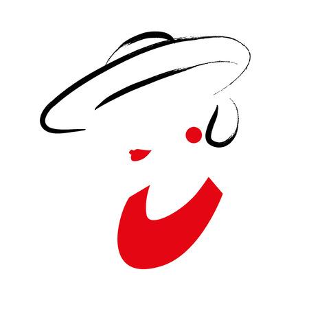 vector dibujado a mano retrato de la chica con estilo joven aislado en fondo blanco. Bueno para portada de una revista, artículo de revista, impresión, diseño de envases, tienda y logotipo de la tienda.