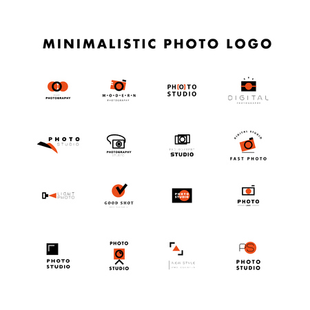 simple store: Vector set of flat modern photo logo. Digital photo logothype collection. Simple and minimalistic photo icons. Good for photo studio, shop and store insignia.