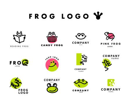 개구리 문자 벡터 간단한 평면 로고. 귀여운 친절 개구리 그림. 동물, 애완 동물 가게, 어린이 장난감 상점, 동물원 시장, 에코 기업과 비즈니스를위한