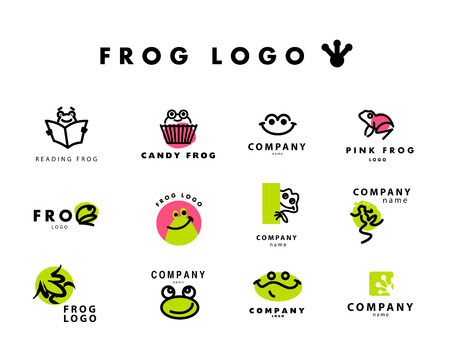 zoo: Vector simple flat logo with frog character. Cute friendly frog illustration. Logo and insignia template good for animal, pet store, children toys shops, zoo markets, eco companies and business.