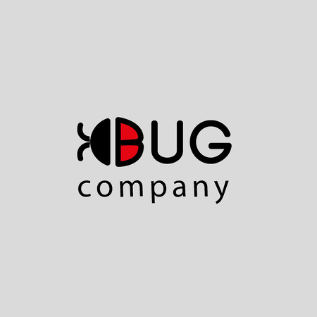 Vector flat bug logo template. Simple beetle icon.