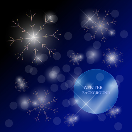 rhinestones: Vector winter illustration with snowflakes made with rhinestones isolated on dark background with text space. Invintation or congratulation card template, postcard, poster, packaging, any graphic design.