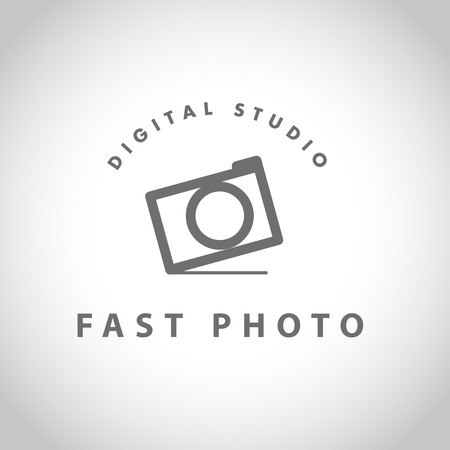 simple store: Vector template of flat modern photo logo. Digital photo logothype design. Simple and minimalistic photo icon. Good for photo studio, shop and store insignia. Illustration
