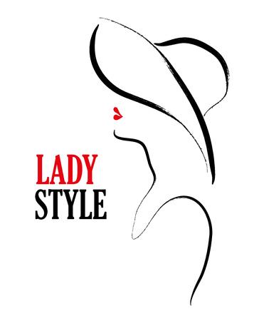 drawn Vector main portrait de jeune élégant profil fille sur fond blanc. Bon pour la couverture du magazine, article de journal, impression, conception d'emballage, une boutique et un magasin logo.