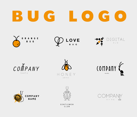 spiders: Vector flat bug logo collection. Simple beetle icon.