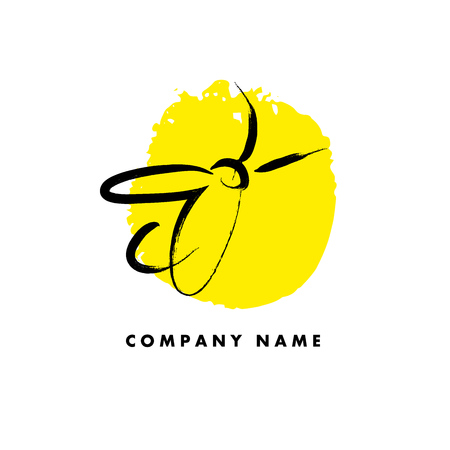 stroked: Vector hand drawn bug logo sample. Black stroked fly icon. Illustration