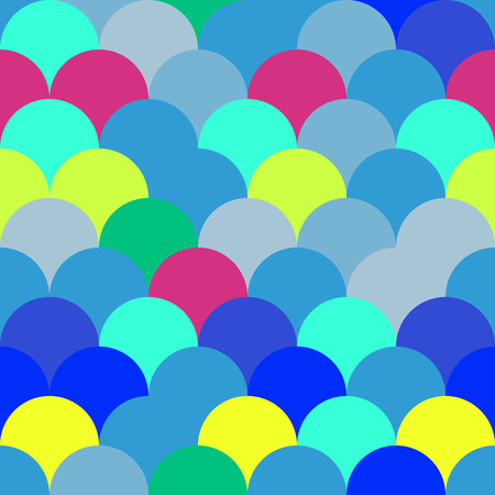 fish scale: Vector seamless background with flat colorful fish scale elements. Good for print design, toys packaging, any funny package or graphic design. Illustration