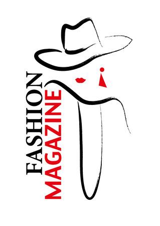 ベクトル少女スタイリッシュな白い背景で隔離の描かれた肖像画を手。雑誌の表紙、雑誌の記事、良い印刷、包装デザイン、ショップのロゴを保存.